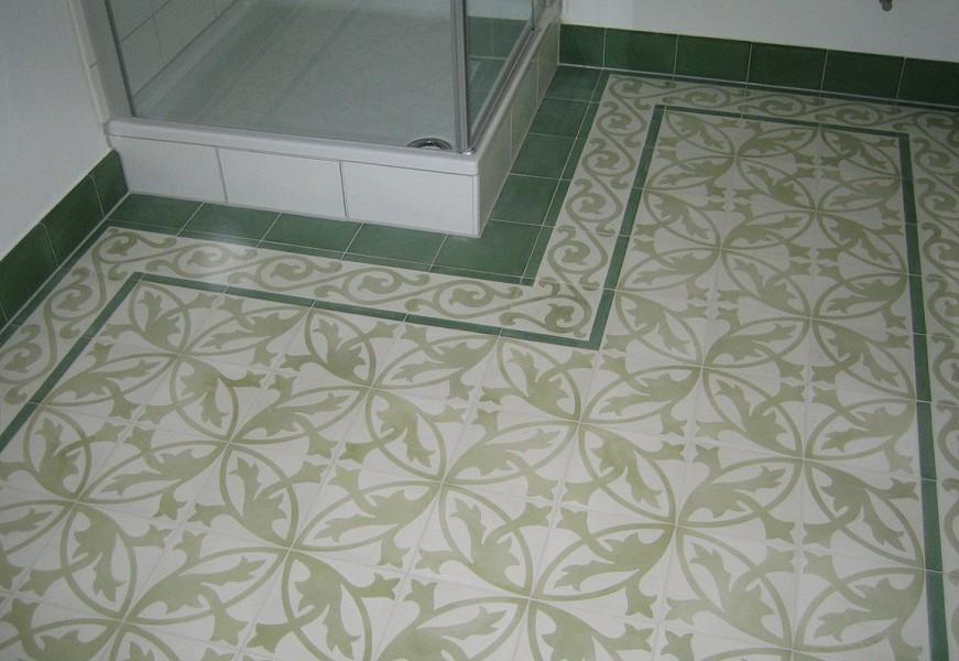 187 Cement Floor Tile With Flower Ornament White Light Green