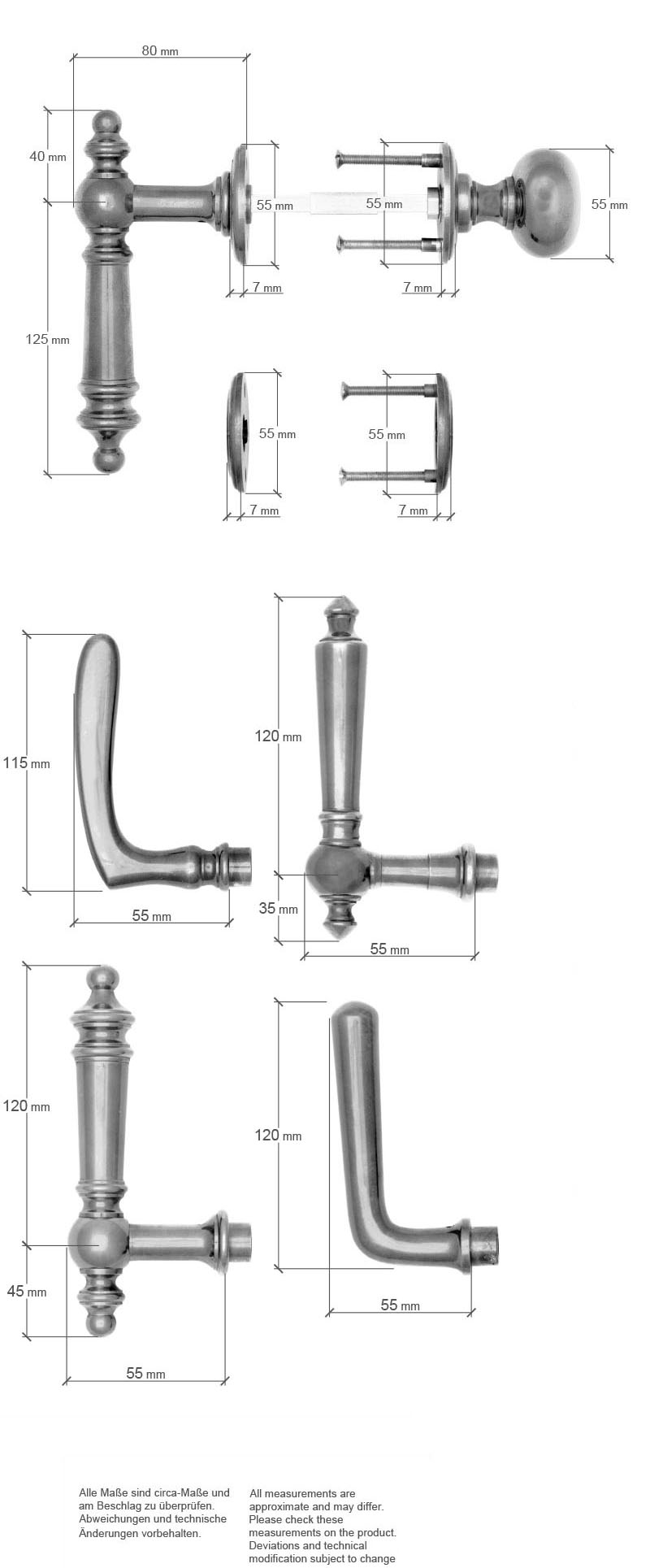 Scale drawing of: Rose door fittings with fixed knobon the exterior side and moving leveron the interior sidematerial:massive brassavailable with different finishesincluding:spindle and screwsdimensions:diameter roses 55 x 7 mmdiameter knob 50 mmlength handle 152 mm