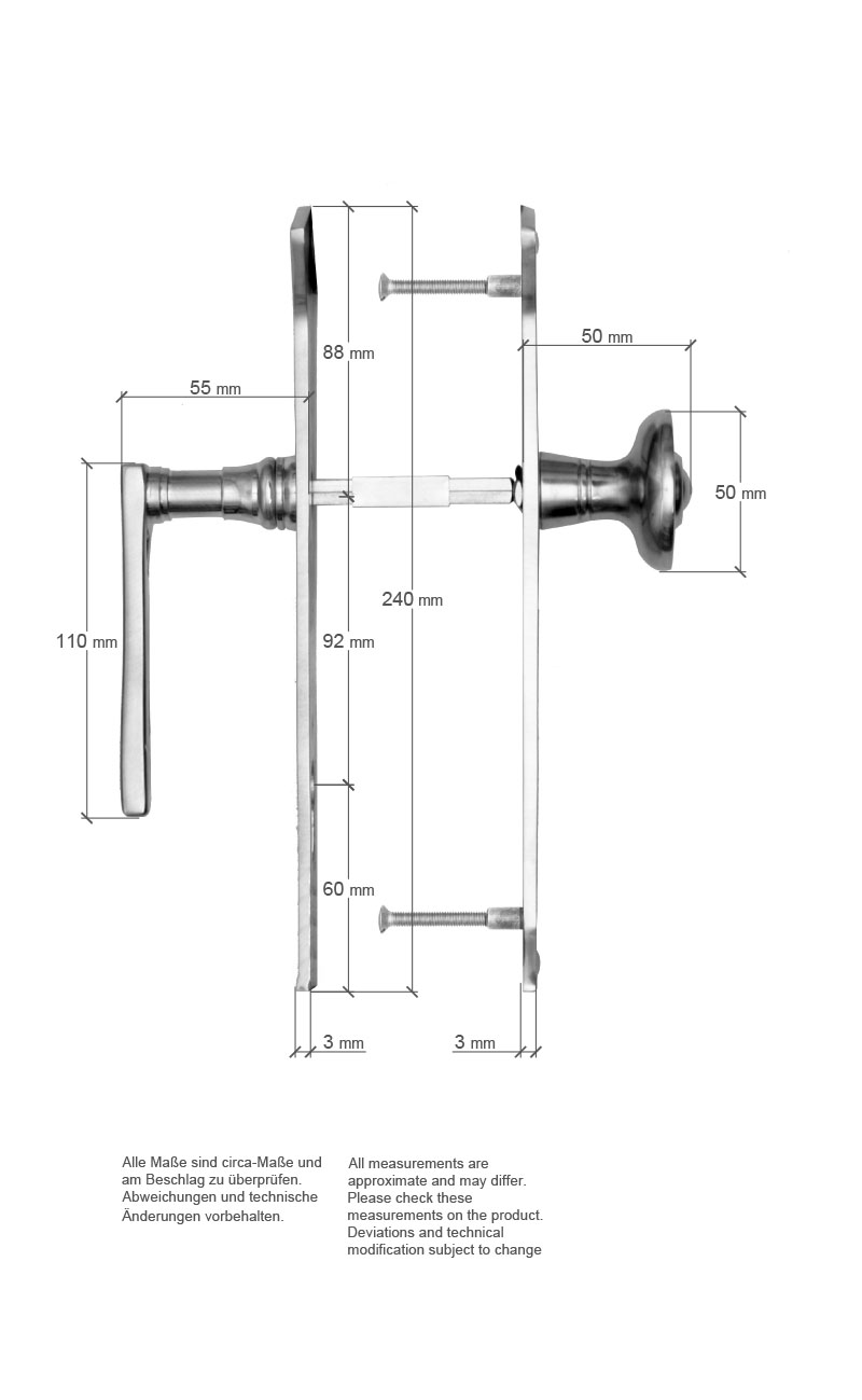 Scale drawing of: Door fittings with fixed knob on the, exterior side and moving lever, on the interior side, , material:, massive brass, , available with different finishes, , including:, spindle and screws, , dimensions:, plate length 240 mm, plate width 65/48 mm, diameter door knob 50 mm, length handle 110 mm