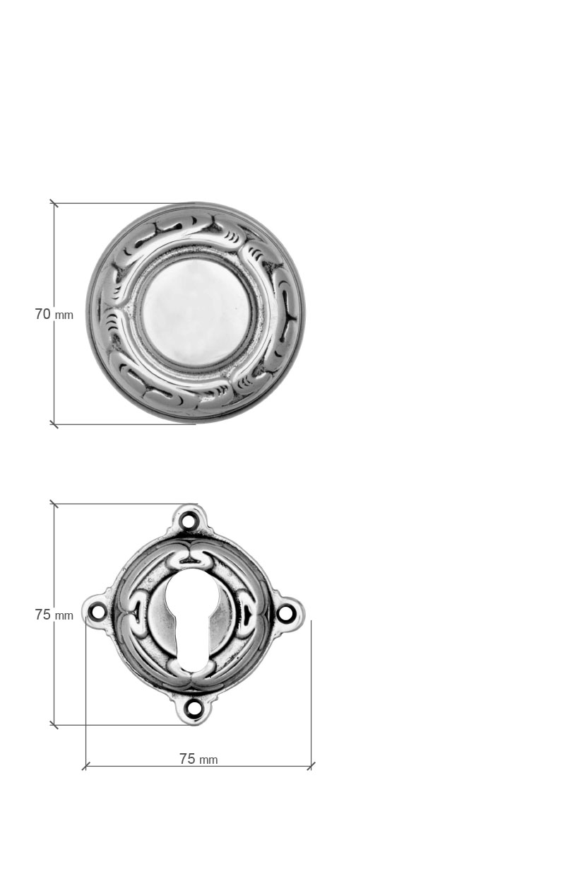 Scale drawing of: Rose door fittings with fixed knob, on the exterior side, and moving lever on the interior side, , material:, massive brass, , available with different finishes, , including:, spindle and screws, , dimensions:, rose handle 75 x 75 x 10 mm, PZ rose 75 x 75 x 10 mm, diameter roses 65 mm, diameter knob 70 mm, length handle 150 mm