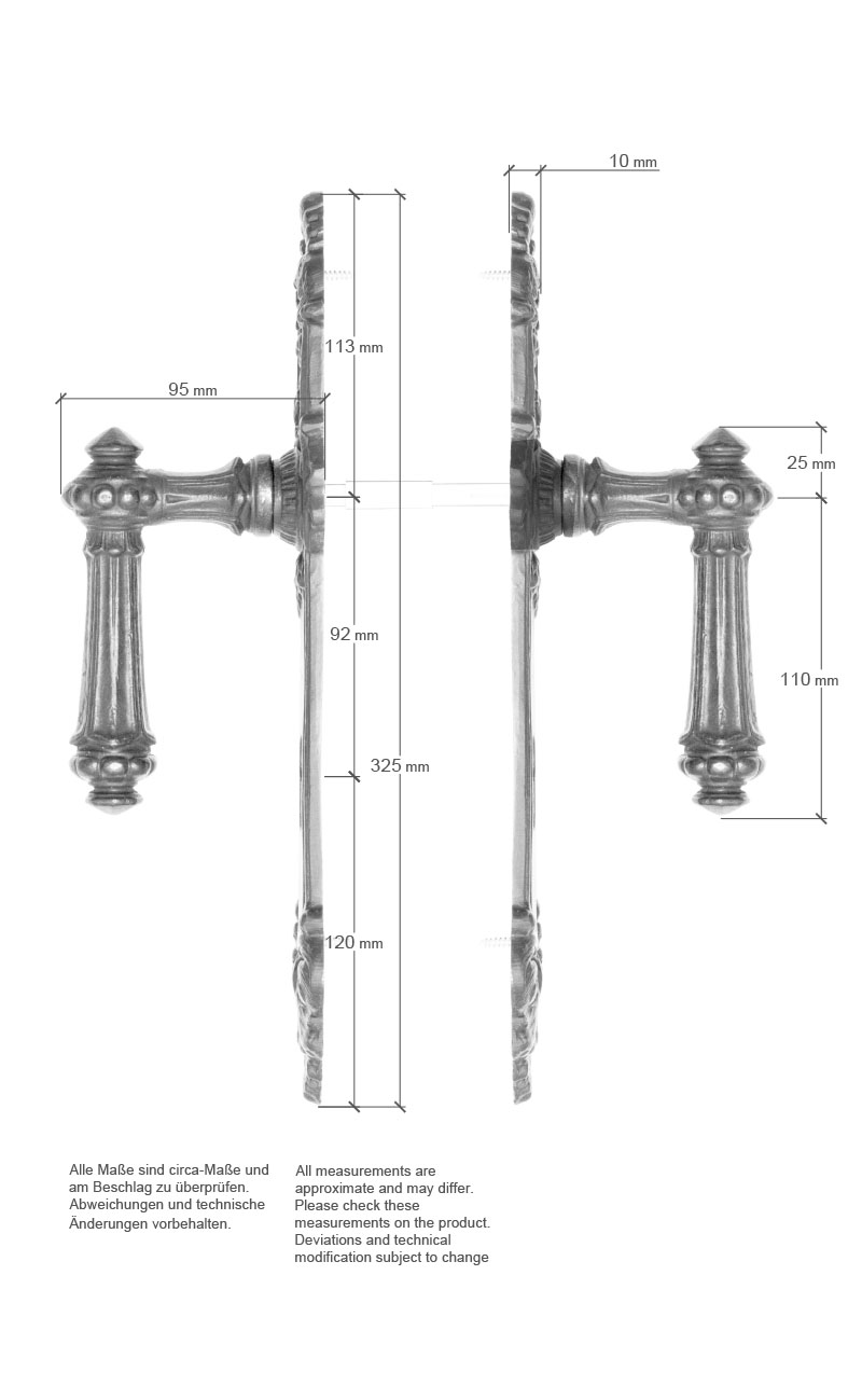 Scale drawing of: Door fittings with levers on both sides, , material:, cast iron, , surface:, patinated, unvarnished, , scope of delivery:, includes the complete set of interior, door fittings for both sides of the, door as well as spindle and screws, , dimensions:, plate length 325 mm, plate width 50 mm, length handle 135 mm