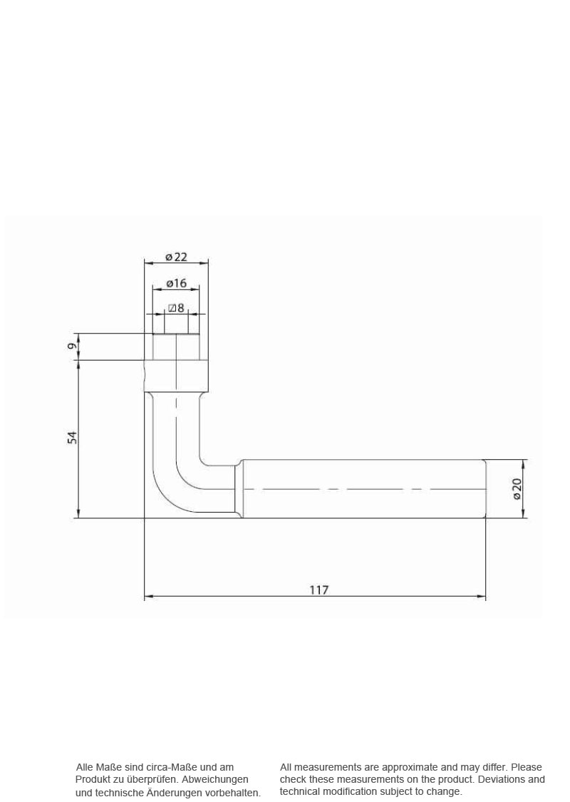 Scale drawing of: material: zinc die casting, , surface: brushed,, satin nickel-plated, , scope of delivery:, includes the complete set of interior, door fittings for both sides of the, door as well as spindle and screws, , dimensions:, length of the handle 117 mm, width plate 40 mm, length plate 230 mm