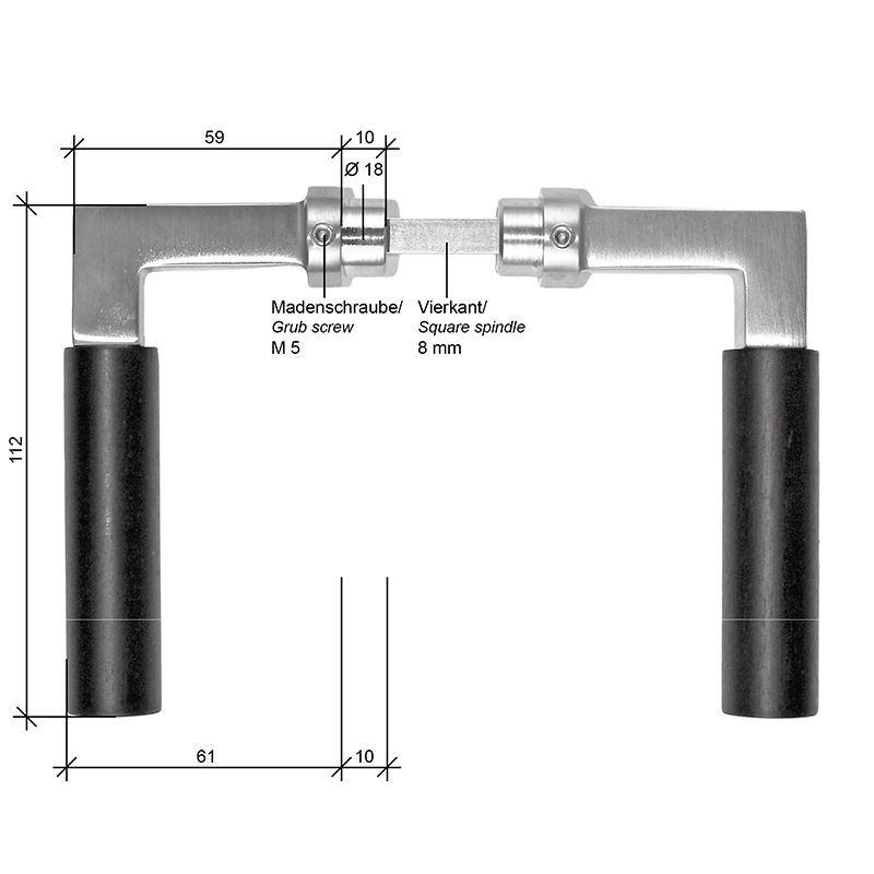 Scale drawing of: consisting of:, 1 pair of levers, , material:, lever massive brass, handle ebony, , available with different finishes, , dimensions:, length lever 112 mm,