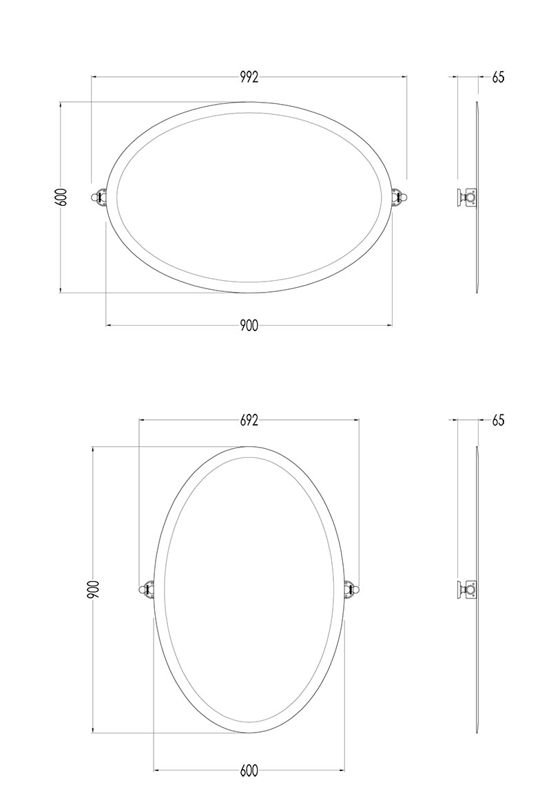 Scale drawing of: oval, verchromt, 600 x 900 mm, senkrecht und waagrecht montierbar