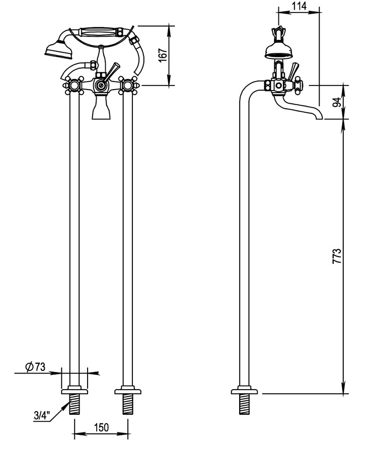 Scale drawing of: with pipes for free standing bath, available in different surfaces, (see options/variants)