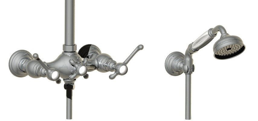 Scale drawing of: series MONTMARTRE, shower head on adjustable column, including handshower. flexible hose, and showerhead