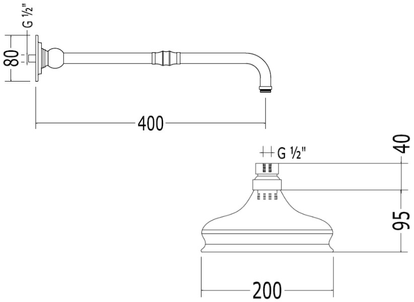 Scale drawing of: with shower arm, brass chrome plated, depth: 380 mm, rose: 130 mm diameter