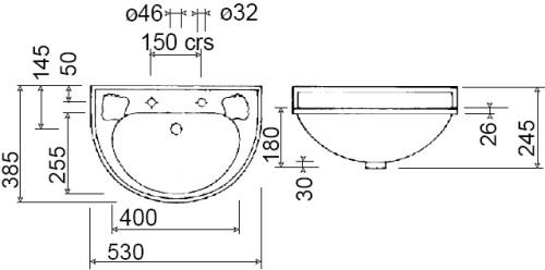 Scale drawing of: with 0, 1 or 2 tap holes, width: 530 mm x depth: 385 mm, height: 180 / 245 mm