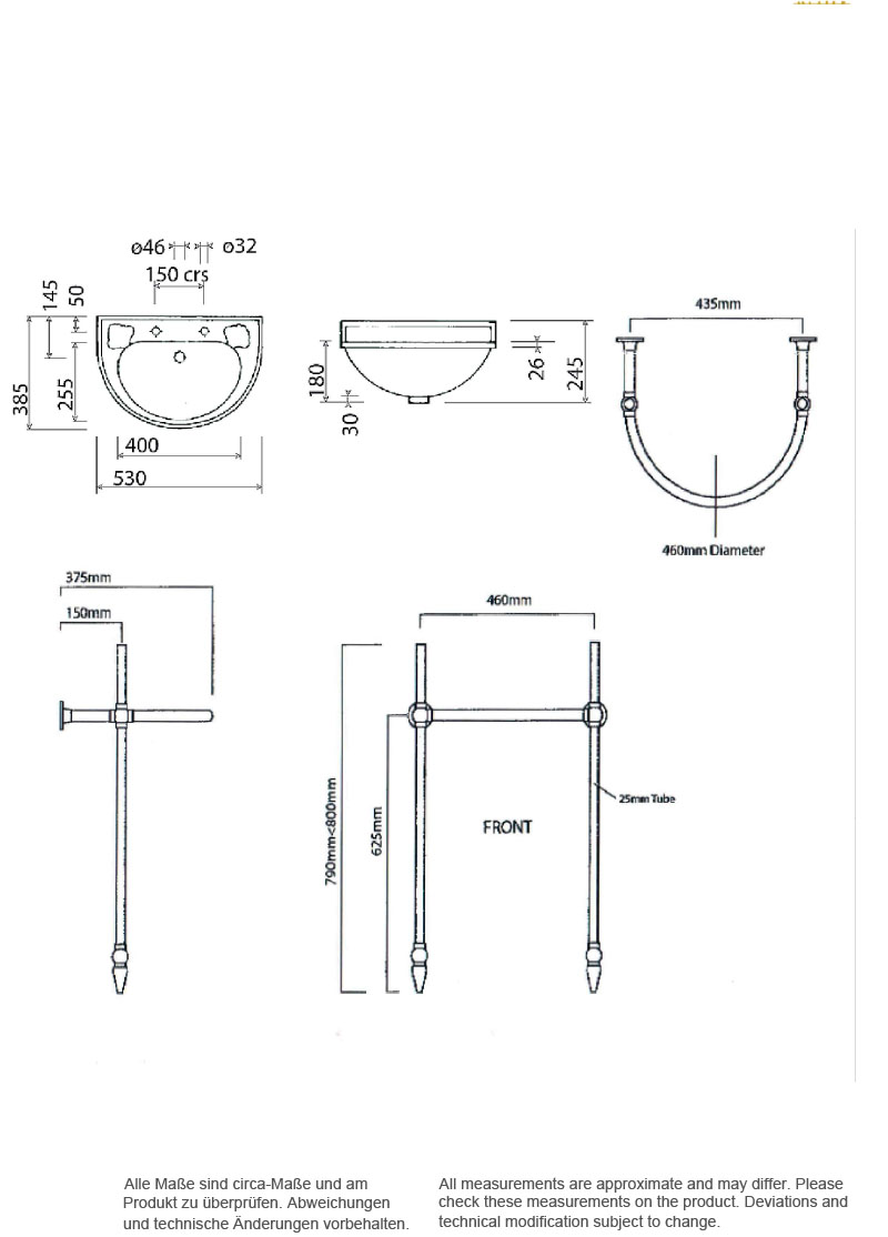 Scale drawing of: with basin stand chrome, towel rail heated or not heated