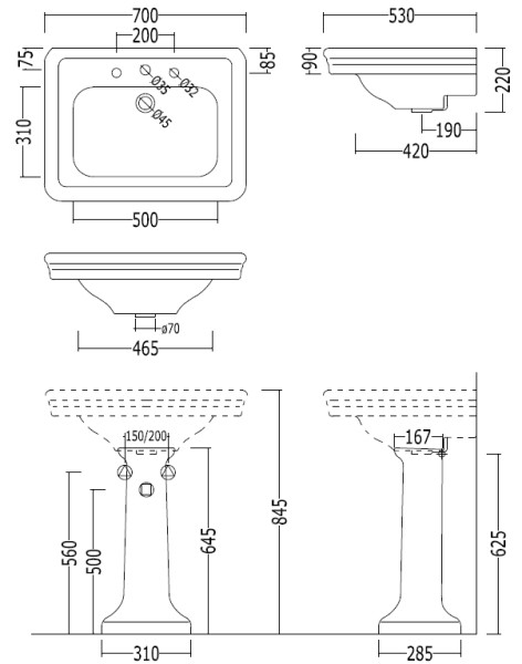 Scale drawing of: with pedestal, 3 tap holes, width 700 mm, depth 530 mm, height 855 mm