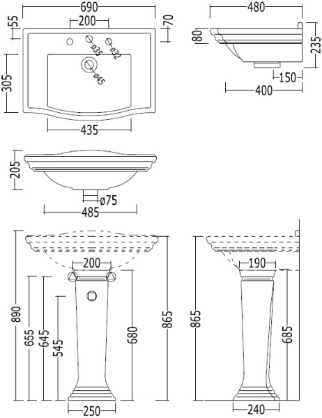 Scale drawing of: with pedestal, 3 tap holes, width 695 mm, depth 480 mm, height 855 / 865 mm