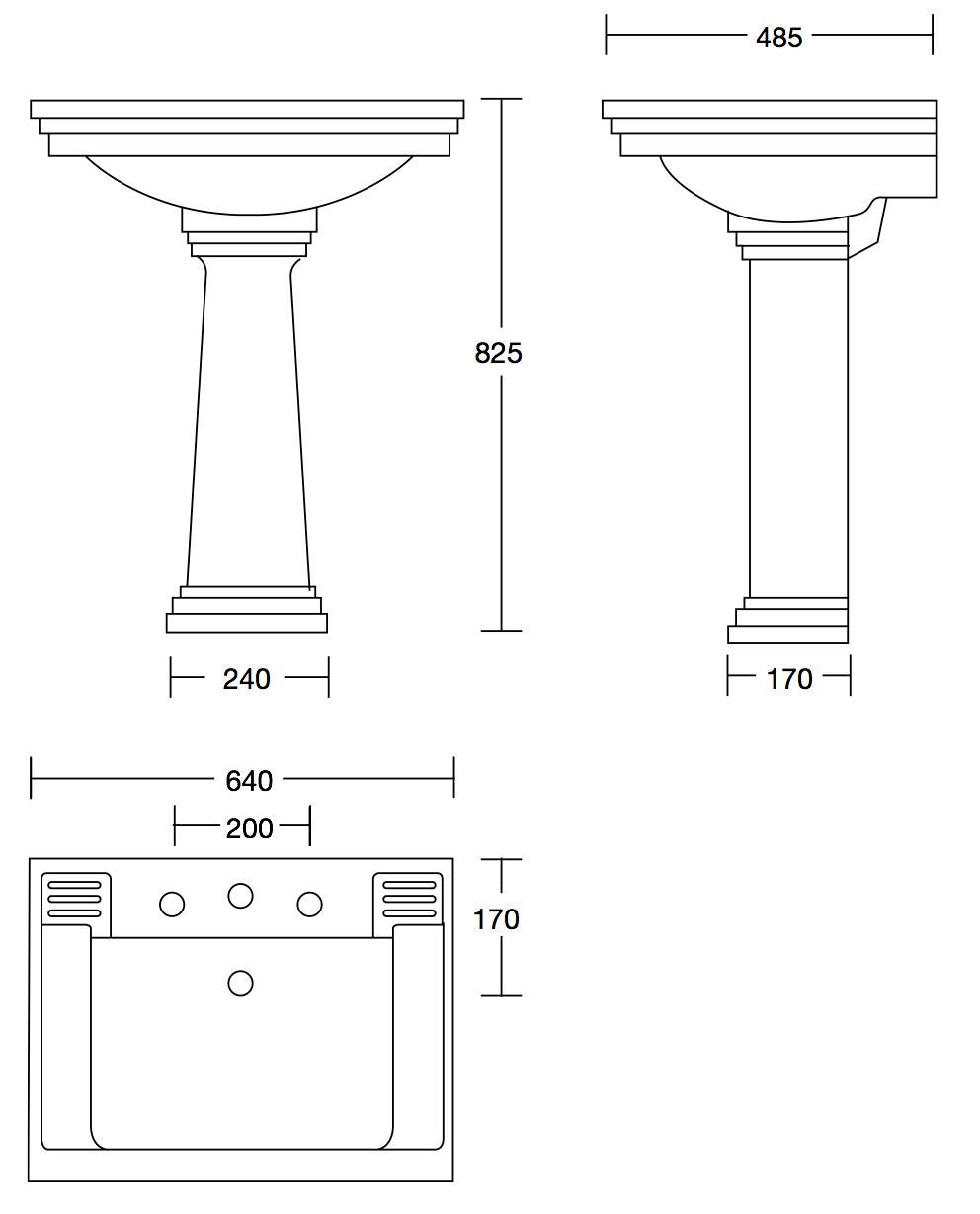 Scale drawing of: with pedestal, , available in white or black, , 3 tap holes or 1 tap hole, , width 640 mm, depth 485 mm, height 825 mm