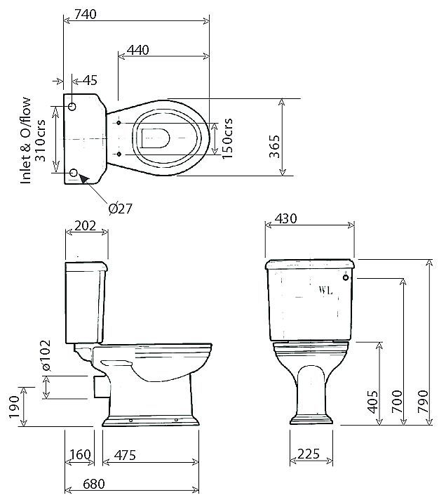 Scale drawing of: with close coupled cisternwithout toilet seat