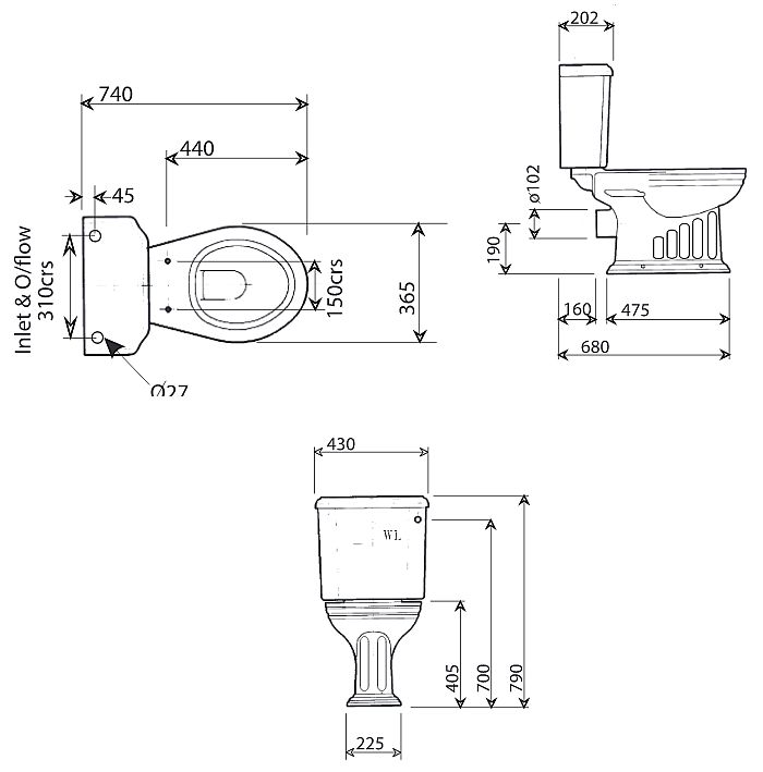 Scale drawing of: with close coupled cistern, without toilet seat
