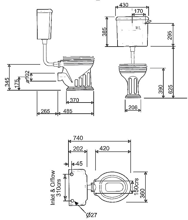 Scale drawing of: with low level cistern, without toilet seat