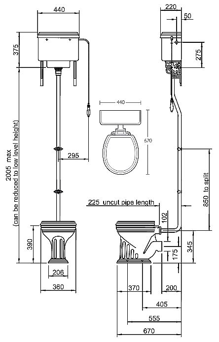 Scale drawing of: with high level cistern, without toilet seat