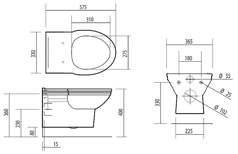 Scale drawing of: wall-mounted pan, toilet seat has to be ordered, additionally