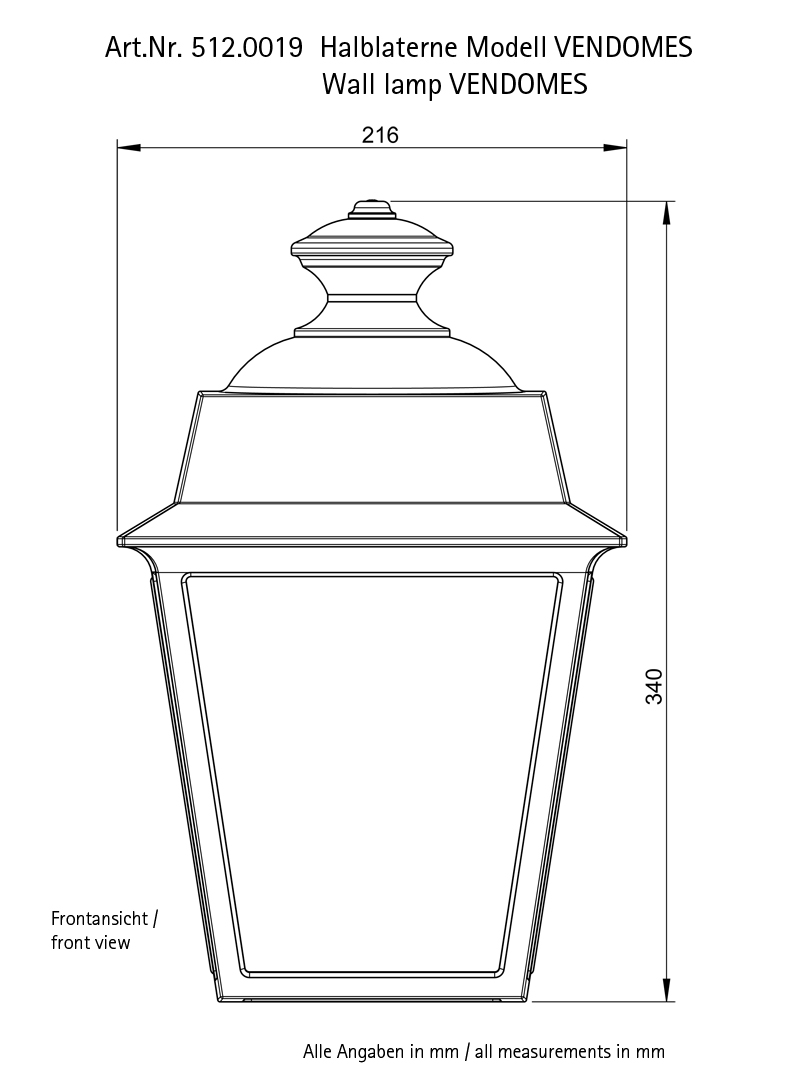 Scale drawing of: height 340 mm, width 216 mm, depth 132 mm, , bulb fitting: E27 / max. 23 W, protection class IP65, , in different finishes available