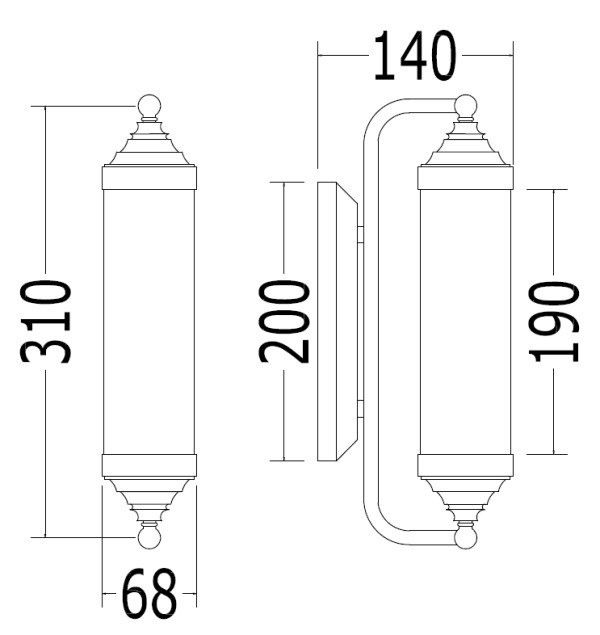 Scale drawing of: material:, brass, chrome-plated, glass opal, , bulb fitting: E14 / max. 40 W, protection class IP44