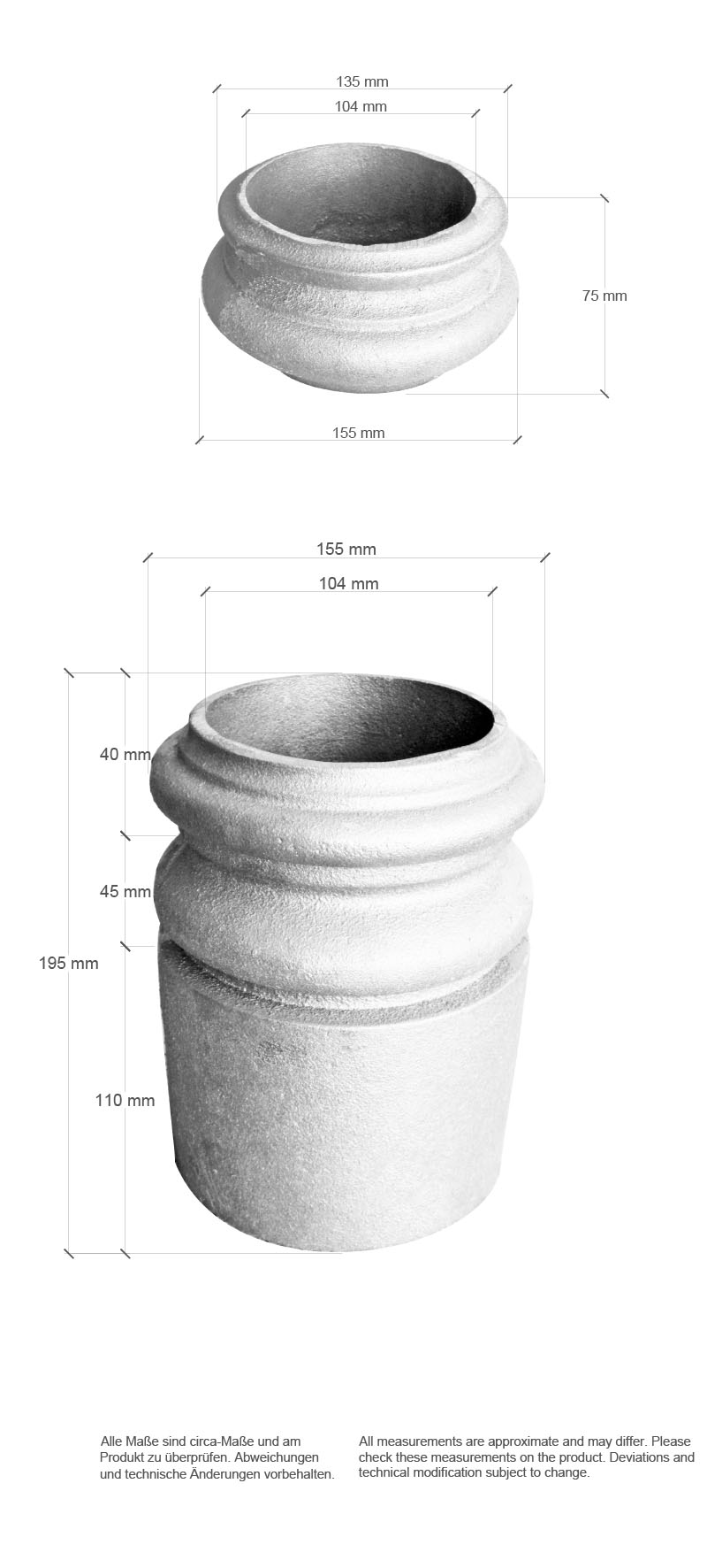Scale drawing of: material:, cast iron, , surface:, Primer, , for steel tube 101,6 mm / 4