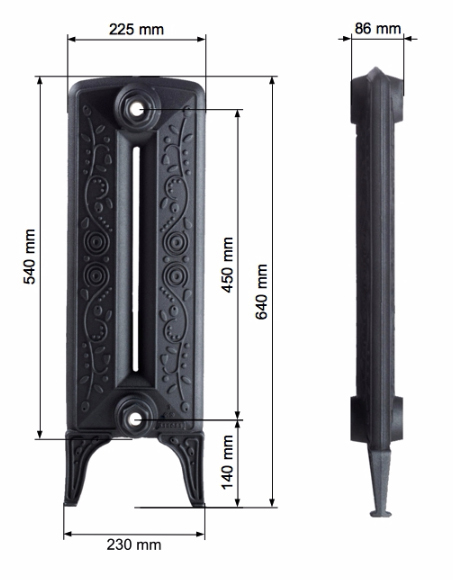 Scale drawing of: Cast iron, height 540 mm, , in various coloured coating available:, Standard Paint Finishes:, Matt Black, Foundry Grey, Matt Grey,, Pearl black, , Specialised Paint Finishes:, Antique Black, Shiny White RAL 9016,, White matt, , Specialised Surface Finish:, Antique Polished