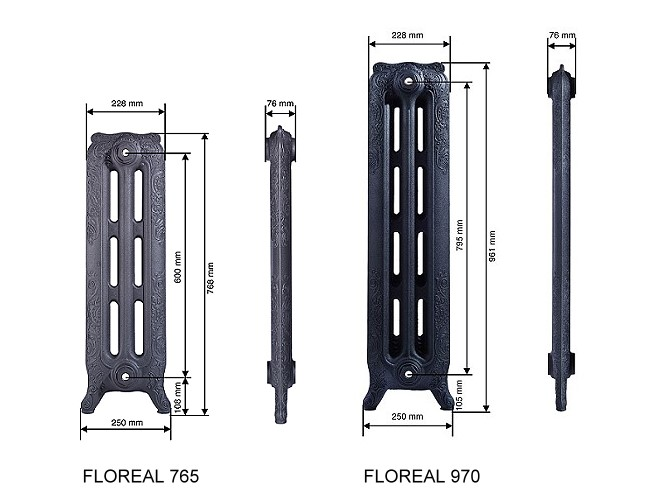 Scale drawing of: material:, cast iron, , in various coloured coating available:, Standard Paint Finishes:, Matt Black, Foundry Grey, Matt Grey,, Pearl black, , Specialised Paint Finishes:, Antique Black, Shiny White RAL 9016,, White matt, , Specialised Surface Finish:, Antique Polished, , dimensions:, height 961 mm, overall depth 250 mm, width per element 76 mm, , available from 5 to 15 elements, but, customized designs are possible., , heat output EN442: varies proportional to, model size., operating pressure 4 bar