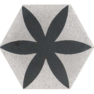 Terrazzo tile BLÜTE - Series Tierra - hexagonal Ø20 - grey / black