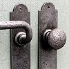 Lever sets and lever-knob-sets made of cast iron or wrought iron, with plates or rosettes