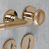Lever sets and lever-knob-sets for fire doors with plates or rosettes