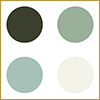 Green-blue chalk paints available in 60 ml tins and 2500 ml tins