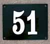 Enamel-house number black/white