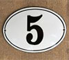 Enamel-house number oval white/black