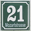 Enamel-house number with streetname green/white