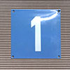 Enamel-house number NUEVO - 12 x 12 - one digit - colour Cielo