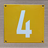 Enamel-house number NUEVO - 12 x 12 - one digit - colour Maize yellow