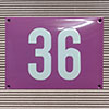 Enamel-house number NUEVO - 14 x 12 - two digits - colour Flieder