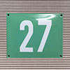 Enamel-house number NUEVO - 14 x 12 - two digit - colour turquoise-green