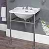 with basin stand chrome, towel rail not heated, with 1, 2 or 3 tap holes