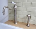 series JULIA with deck side handspray, swivel spout, no wast, with flexible hoses, different surfaces available