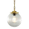 Pendant light ADARE - holodphane globe - brass - different variations