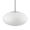 triplex-opal glass silk mat or shiny, pendant shiny chrome-plated, , diameter lamp: 350 mm, height lamp: 190 mm, length pendant: 300 or 800 mm, , IP 23, E 27 metal bulb fitting with ceramic, counter ring (max. 100W)
