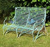 wrought iron, zinc-plated, green patinated, lenght 1200 mm, height 935 mm, overall depth 810 mm, seat depth 500 mm, seat height 300 - 350 mm