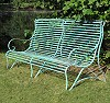 wrought iron, zinc-plated, green patinated, length 1740 mm, height 935 mm, overall depth 810 mm, seat depth 500 mm, seat height 300 - 350 mm