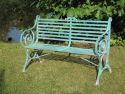 wrought iron, zinc-plated, green patinated, width 1280 mm, height 820 mm, overall depth 510 mm, seat depth 330 mm, seat height 400 mm