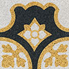 Terrazzo border tile ORBITA - Series Tierra - 20 x 20 - yellow / white / black