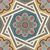 Fluted cement floor tile floral ornament