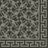 Cement floor tile flower ornament black/grey-green