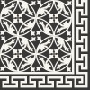 Cement floor tile flower ornament black/white