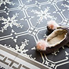 Cement floor tile Crystal ornament dark grey