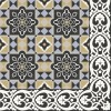 Cement floor tile with geometrical blossoms